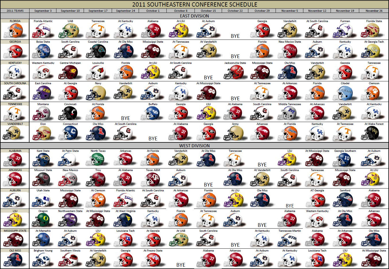 The 2011 SEC Helmet Schedule