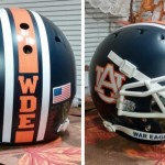 Two Real-Life Matte Auburn Helmets