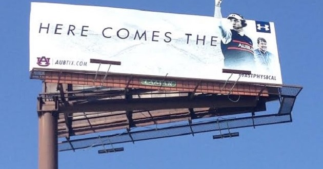 "Auburn's ""HERE COMES THE..."" Billboards Going Up on a Thursday"