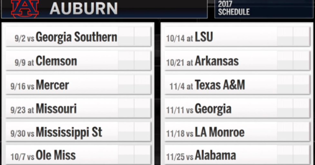 Auburn's 2017 Football Schedule Released