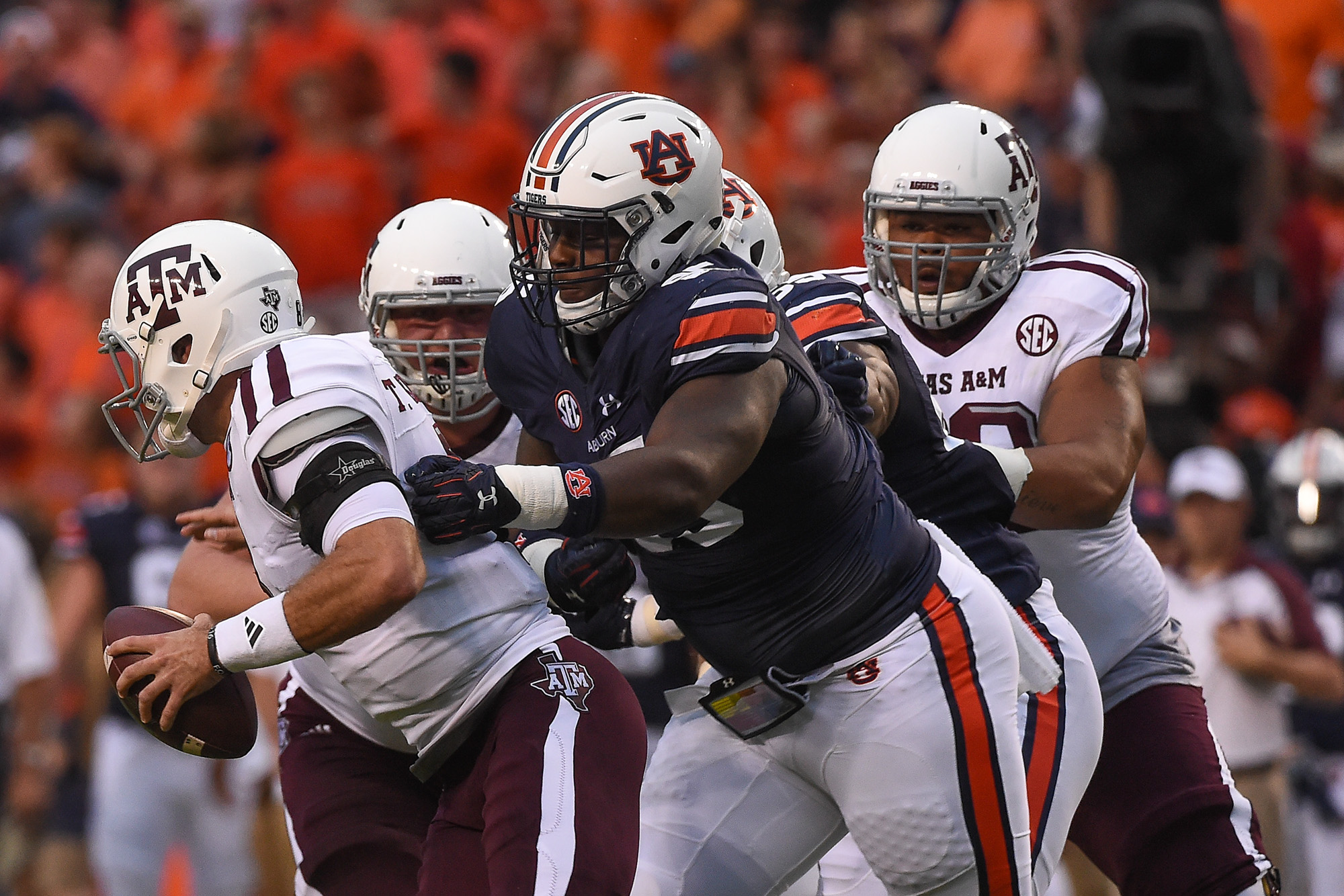 Dontavius Russell (95). Auburn vs Texas A&M football game on Saturday, Sept. 17, 2016 in Auburn, Ala.  Dakota Sumpter/Auburn Athletics
