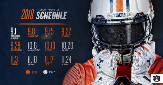 Ranking Auburn's 2018 Football Schedule
