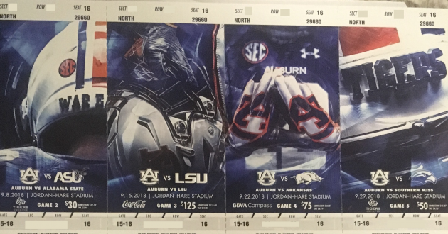 The 2018 Auburn Football Season Tickets